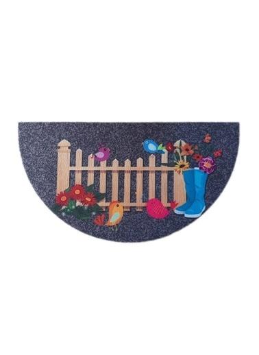 Giz Home Giz Home Boyalı Megan 40X75 Yarımay Bahçe Renkli Kapı Paspası Renkli